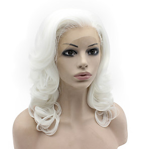 cheap Synthetic Lace Wigs-Synthetic Lace Front Wig Body Wave Body Wave Lace Front Wig Medium Length White Synthetic Hair Women's Natural Hairline White