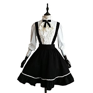 cheap Lolita Dresses-Classic Lolita Dress Blouse / Shirt Women's Girls' Cotton Japanese Cosplay Costumes Black Solid Colored Long Sleeve Knee Length