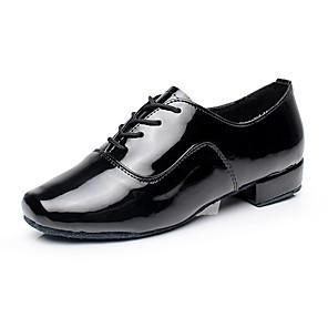 זול נעלי ריקודים ונעלי ריקוד מודרניות-בגדי ריקוד גברים סניקרס לריקוד סוליה מלאה עקב עבה עור חזיר לבן / שחור / בבית / EU39
