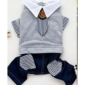 cheap Dog Clothes-Dog Shirt / T-Shirt Dog Clothes Gray Costume Cotton British Casual / Daily Simple Style Fashion XS S M L XL XXL