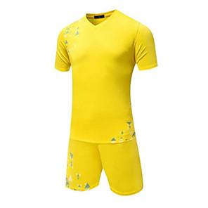 billiga Fotboll tröjor och shorts-Herr Fotboll Överdelar Andningsfunktion Bärbar Bekväm Fotboll Enfärgad Ljusblå Gul Röd