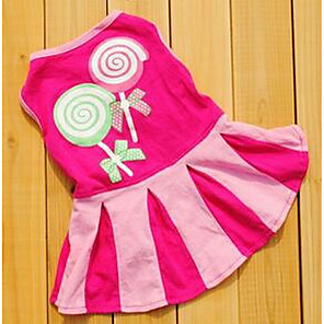 cheap Dog Clothes-Dog Dress Dog Clothes Princess Fuchsia Red Blue Cotton Costume For Summer Women's Casual / Daily Fashion