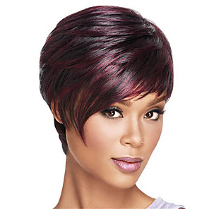 cheap Synthetic Trendy Wigs-Synthetic Wig Straight Straight Bob Short Bob With Bangs Wig Ombre Dark Wine Synthetic Hair Women's Heat Resistant Ombre Hair Ombre