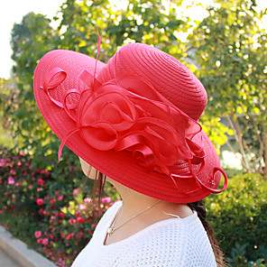 cheap Historical & Vintage Costumes-Women's Kentucky Derby Holiday Polyester Mesh Bucket Hat Sun Hat-Solid Colored Pleated Spring Summer Blushing Pink Red Orange / Cute / Fabric