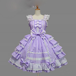 cheap Lolita Dresses-Princess Sweet Lolita Summer Dress JSK / Jumper Skirt Women's Girls' Cotton Japanese Cosplay Costumes Plus Size Customized Purple / Yellow / Blue Ball Gown Solid Colored Bowknot Cap Sleeve Short
