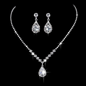 cheap Jewelry Sets-Women's Pendant Necklace Basic Zircon Rhinestone Silver Plated Silver Necklace Jewelry For Wedding Party Anniversary Business Daily Engagement / Valentine