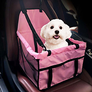 cheap Dog Collars, Harnesses & Leashes-Cat Dog Car Seat Cover Dog Pack Pet Booster Seat Portable Breathable Double-Sided Solid Colored Fabric Pink Gray / Foldable