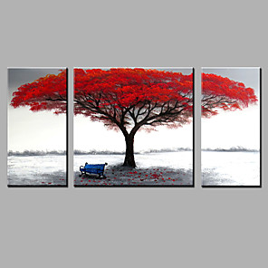 cheap Floral/Botanical Paintings-Hand-painted Red Tree Oil Painting Fallen Leaves Contemporary Art Decor Ready to Hang Three Panels