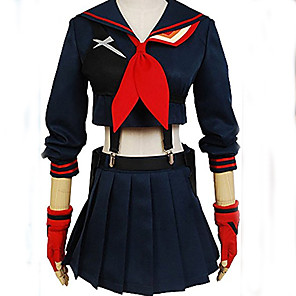 cheap Anime Costumes-Inspired by Cosplay Schoolgirls Matoi Ryuuko Anime Cosplay Costumes Japanese Cosplay Suits Solid Colored Long Sleeve Top Skirt Gloves For Girls'