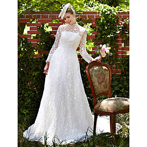 cheap LED String Lights-A-Line Wedding Dresses Illusion Neck Court Train All Over Lace Long Sleeve Floral Lace with Lace 2020