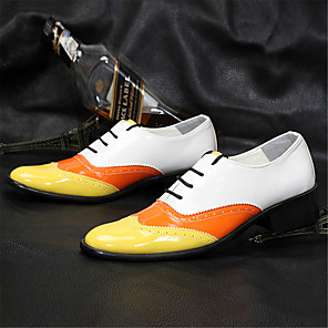 cheap Men's Oxfords-Men's Formal Shoes Patent Leather Spring / Summer British Oxfords Walking Shoes Black / Yellow / Red / Wedding / Party & Evening / Lace-up / Party & Evening / Dress Shoes