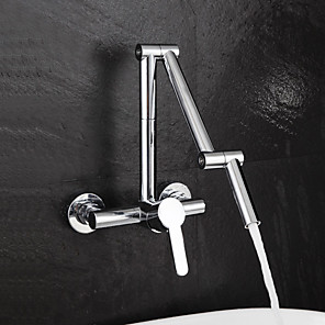 cheap Kitchen Faucets-Kitchen faucet - Single Handle Two Holes Chrome Pot Filler Wall Mounted Contemporary Kitchen Taps