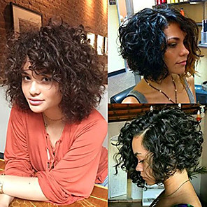 cheap Human Hair Capless Wigs-Premierwigs short curly wigs 8a curly explosion head wig virgin human hair lace front wig natural color unprocessed virgin brazilian hair wigs
