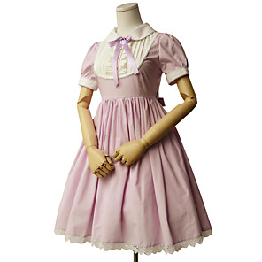 cheap Lolita Dresses-Princess Sweet Lolita Dress Women's Girls' Cotton Japanese Cosplay Costumes Green / Pink / Ink Blue Solid Colored Short Sleeve Knee Length