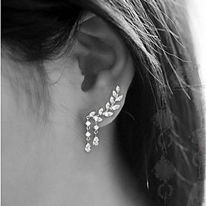cheap Earrings-Women's Cubic Zirconia Stud Earrings Ear Climbers Climber Earrings Leaf Drop Ladies Simple Tassel Elegant Blinging everyday Earrings Jewelry Gold / Silver For Wedding Party Gift Daily Masquerade