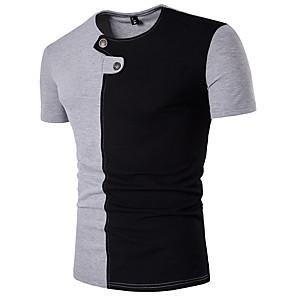 cheap Framed Arts-Men's T-shirt Color Block Patchwork Slim Tops Cotton Active Round Neck White Orange Gray / Sports / Short Sleeve / Summer
