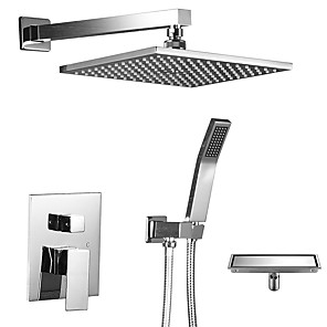 cheap Shower Faucets-12 Inch Ceiling Mounted Shower Head System Rain Mixer Rainfall Shower Systerm With Drain Polished Chrome Shower Faucet Rough-in Valve Bath Shower Mixer Taps Two Handles