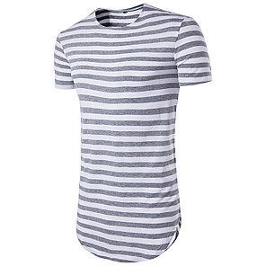 cheap Bracelets-Men's Striped Print Slim T-shirt Basic Daily Sports Weekend Round Neck Black / Red / Light gray / Navy Blue / Summer / Short Sleeve / Long