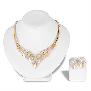 cheap Jewelry Sets-Women's Jewelry Set Necklace Fashion Euramerican Rhinestone Earrings Jewelry Gold For Wedding Party Special Occasion Anniversary Birthday Gift / Daily / Engagement / Valentine