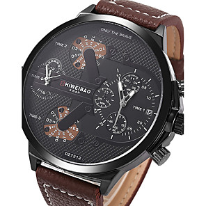cheap Blush-Men's Sport Watch Military Watch Wrist Watch Quartz Genuine Leather Brown Calendar / date / day Creative Dual Time Zones Analog Charm Luxury Vintage Casual Bangle - Coffee One Year Battery Life