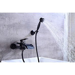 cheap Bathtub Faucets-Bathtub Faucet - Contemporary Oil-rubbed Bronze Centerset Ceramic Valve Bath Shower Mixer Taps / Brass / Single Handle Two Holes