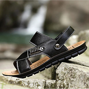 cheap Women's Sandals-Men's Comfort Shoes Spring / Summer Casual Casual Outdoor Sandals Walking Shoes Leather Breathable Black / Khaki / Brown / Rivet / EU40