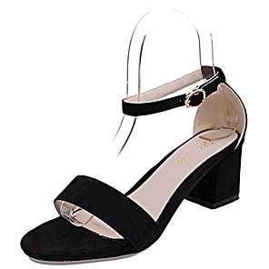 cheap Men's Bags-Women's Sandals Block Heel Sandals Chunky Heel Open Toe Rhinestone / Buckle PU(Polyurethane) Club Shoes Spring / Summer Black / Pink / Party & Evening / Party & Evening / EU39