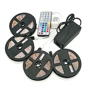 cheap LED Strip Lights-ZDM® 4x5M Light Sets LED Light Strips RGB Tiktok Lights 1200 LEDs SMD 2835 8mm 1 12V 6A Adapter 1 44Keys Remote Controller 1x 1 To 4 Cable Connector Waterproof Cuttable Self-adhesive 100-240 V