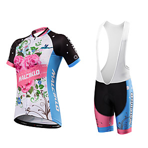 cheap Cycling Jersey & Shorts / Pants Sets-Malciklo Women's Short Sleeve Cycling Jersey with Bib Shorts White+Sky Blue Floral Botanical Plus Size Bike Clothing Suit Breathable Quick Dry Anatomic Design Reflective Strips Sweat-wicking Sports