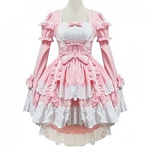 cheap Lolita Dresses-Princess Sweet Lolita Summer Dress Women's Girls' Cotton Japanese Cosplay Costumes Pink Solid Colored Bowknot Cap Sleeve Long Sleeve Short / Mini / Tuxedo / High Elasticity