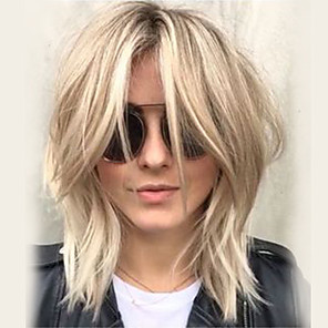 cheap Human Hair Capless Wigs-Human Hair Blend Wig Medium Length Wavy Layered Haircut Short Hairstyles 2020 With Bangs Berry Wavy Side Part Machine Made Women's Platinum Blonde