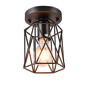 cheap Historical & Vintage Costumes-Vintage Mini 1-Light Black Metal Cage Loft Ceiling Lamp  Flush Mount Dining Room Kitchen  Light Fixture