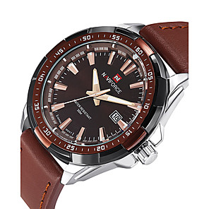 cheap Car Headlights-NAVIFORCE Men's Sport Watch Wrist Watch Quartz Luxury Calendar / date / day Quilted PU Leather Black / Brown Analog - Black Brown Two Years Battery Life / Maxell SR626SW