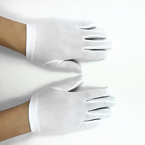 cheap Party Accessories-Polyester Elastic Satin Wrist Length Glove Flower Girl Gloves