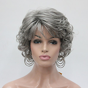 cheap Synthetic Trendy Wigs-Synthetic Wig Curly Curly Wig Short Grey Synthetic Hair Women's Gray Hivision