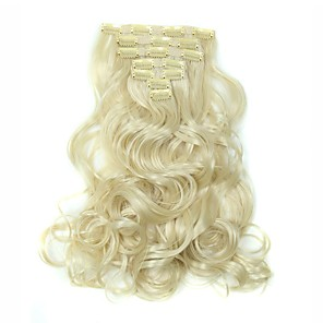 cheap Tools & Accessories-Hair Piece Wavy Classic Synthetic Hair Hair Extension Clip In Daily