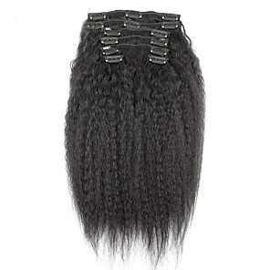 cheap Clip in Hair Extensions-new brazilian 100 human hair clip ins afro kinky curly clip ins extensions in hair weaves natural black color 7 pcs set