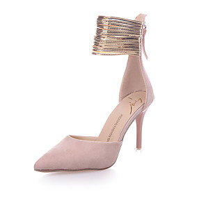 cheap Necklaces-Women's Heels Stiletto Heel Pointed Toe Zipper Fleece / PU Club Shoes Spring / Summer Pink / Black / Party & Evening / Dress / 3-4 / Party & Evening