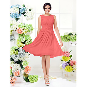 cheap Historical & Vintage Costumes-A-Line Jewel Neck Knee Length Georgette Bridesmaid Dress with Criss Cross / See Through