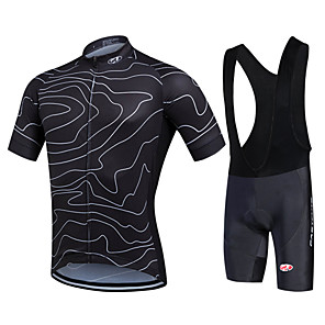 cheap Cycling Jersey & Shorts / Pants Sets-Fastcute Men's Short Sleeve Cycling Jersey with Bib Shorts Red Green Blue Bike Shorts Bib Shorts Jacket Breathable 3D Pad Quick Dry Sweat-wicking Sports Polyester Silicon Lines / Waves Mountain Bike