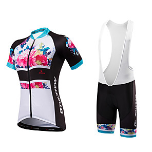 cheap Cycling Jersey & Shorts / Pants Sets-Malciklo Women's Short Sleeve Cycling Jersey with Bib Shorts Floral Botanical Plus Size Bike Bib Shorts Jersey Padded Shorts / Chamois Breathable Anatomic Design Reflective Strips Back Pocket