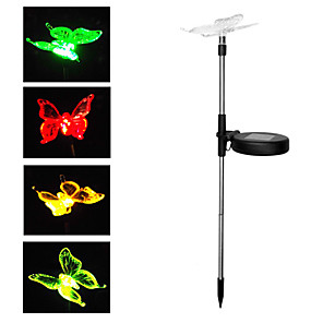 cheap Pathway Lights-BRELONG 1 pc Solar Garden Light Outdoor Lighting RGB Butterfly Lawn Light DC4.5V
