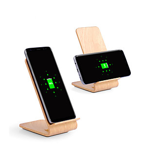 cheap Wireless Chargers-10w Fast Wireless Charger Wooden Bracket for iPhone XS iPhone XR XS Max iPhone 8 Samsung S9 Plus S8 Note 8 Or Built-in Qi Receiver Smart Phone