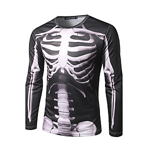 cheap Tattoo Power Supplies-Men's T-shirt Graphic Skull Print Tops Street chic Round Neck Black / Long Sleeve