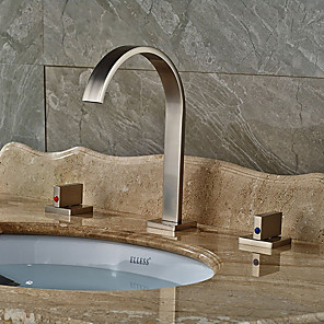 cheap Power Supply-Bathroom Sink Faucet - Widespread Nickel Brushed Vessel Two Handles Three HolesBath Taps