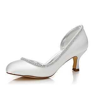 cheap Wedding Shoes-Women's Wedding Shoes Glitter Crystal Sequined Jeweled Low Heel Round Toe / Closed Toe Sparkling Glitter Silk Comfort / Dyeable Shoes Spring / Fall Ivory / Party & Evening