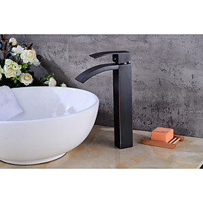 cheap Bathroom Sink Faucets-Bathroom Sink Faucet - Waterfall Oil-rubbed Bronze Centerset Single Handle One HoleBath Taps / Brass