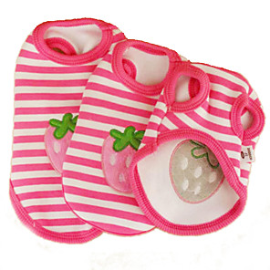 cheap Dog Clothes-Cat Dog Shirt / T-Shirt Dog Clothes Pink Costume Cotton Stripes Fruit Cosplay Wedding XS S M