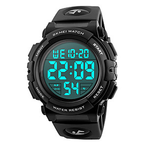 cheap Sport Watches-SKMEI Men's Sport Watch Military Watch Wrist Watch Japanese Silicone Black / Blue / Silver 50 m Water Resistant / Waterproof Alarm Calendar / date / day Digital Fashion - Red Green Blue Two Years