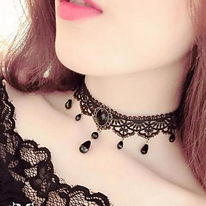 cheap Necklaces-Women's Choker Necklace Tassel Fringe Drop Ladies Tassel Vintage Gothic Lace Resin Black Necklace Jewelry For Party Cosplay Costumes